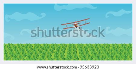 Crop Dusting - stock vector