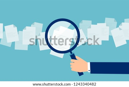 Crop hand of cartoon employer with magnifier looking through candidates resume in search