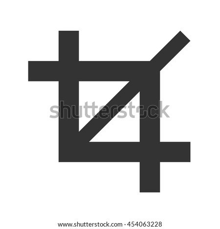 Crop icon. Simple flat logo of crop sign on white background. Vector illustration.