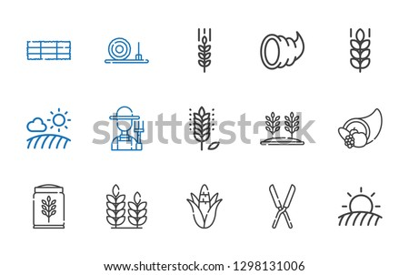 crop icons set. Collection of crop with field, shears, corn, wheat, cornucopia, farmer, straw bale, hay bale. Editable and scalable crop icons.