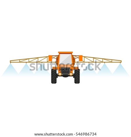 Crop sprayer or liquid fertilizer applicator. Vector illustration