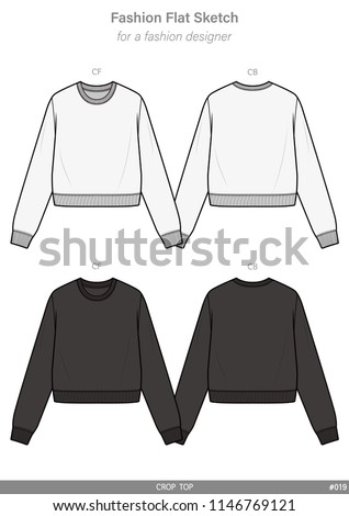 CROP TOP FASHION FLAT SKETCHES technical drawings teck pack Illustrator vector template