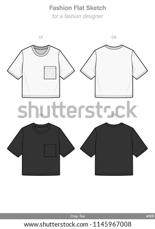 Crop top Tee shirt FASHION FLAT SKETCHES technical drawings teck pack Illustrator vector template