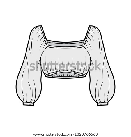 Cropped blouse top technical fashion illustration with elasticated hem and shoulders, long oversized sleeves, loose silhouette. Flat shirt apparel template front, grey color. Women men unisex top Photo stock ©