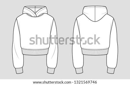 Cropped hoodie. Mockup template