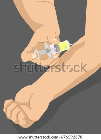 Cropped Illustration Featuring a Drug Addict Injecting His Arm With an Unidentified Liquid
