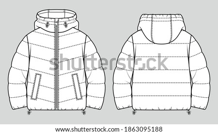 Cropped puffer winter down coat. Women oversized quilting jacket. Vector technical sketch. Mockup template. ストックフォト ©