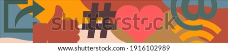 Cropped Vector Illustration with Overlapping Symbols,  Wifi Icon, Share Sign, Like Hand, At Symbol, Hashtag and Heart Shape, Wide Format  Web Banner