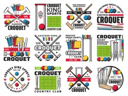 Croquet club, court booking and tournament retro icons. Wooden mallet, color balls and hoops, clips and pegs engraved vector. Croquet country club, sport competition and association vintage emblem