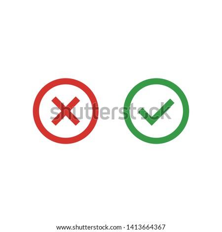 Cross and Check mark symbol icon vector illustration