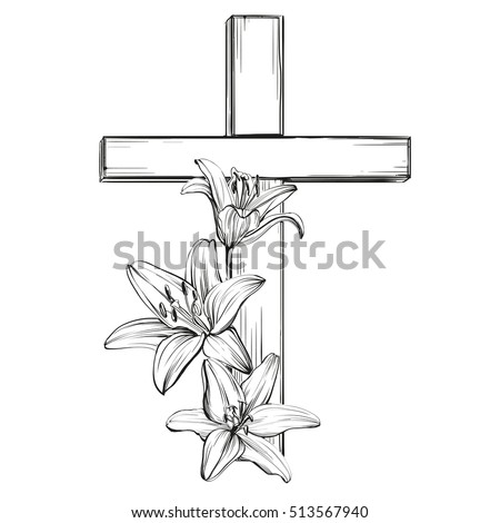 cross and floral blooming