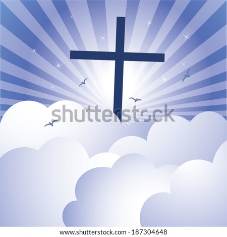 Cross and glorious sky. Vector illustration of cross Jesus Christ\'s Resurrection with glorious sky and sparkles stars background.