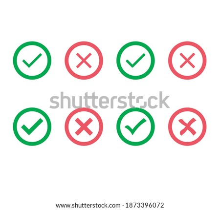 cross and tick icon vector .flat and colorful icon. Stock fotó ©
