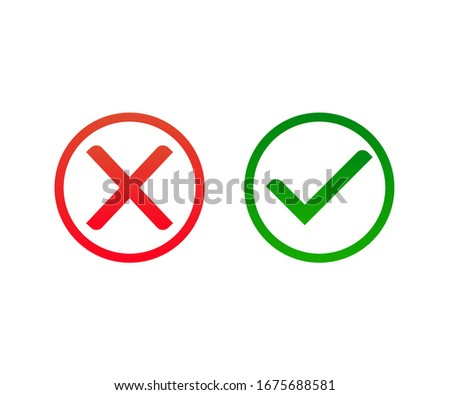 cross and tick icon vector with circle line. flat and colorful icon. Stock fotó ©