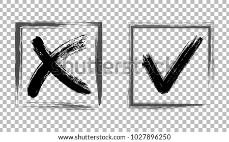 Cross and tick signs, black painted checkmarks design. Symbolic X and OK brush icons in square black cells. Rejection and acceptance symbol vector buttons for vote, election choice on transparent.