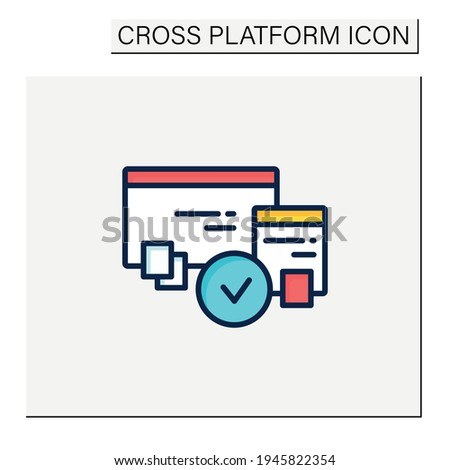 Cross browser compatibility color icon. Synchronizing all data in different devices. Sharing data. Digitalization concept. Isolated vector illustration