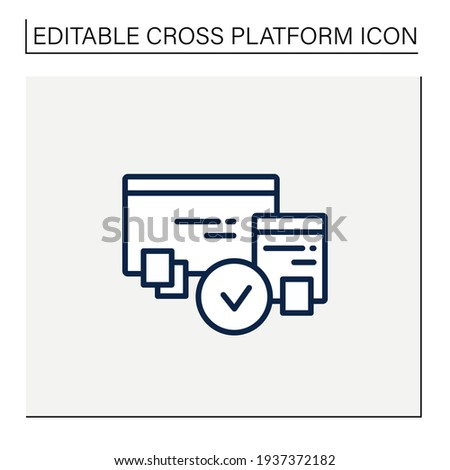 Cross browser compatibility line icon. Synchronizing all data in different devices. Sharing data. Digitalization concept. Isolated vector illustration.Editable stroke