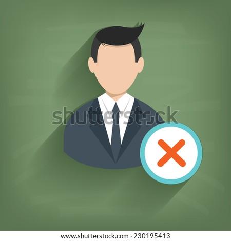 cross businessman on blackboard