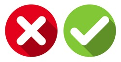 Cross & check mark icons, flat round buttons set. Vector EPS10