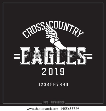 Cross Country, Distance Runner, Running, Sports Design, Team Logo, Winged Shoe, Gladiator Shoe, Eagles