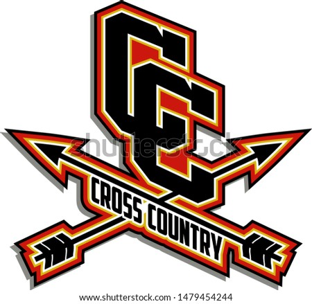 cross country team design with crossed arrows for school, college or league
