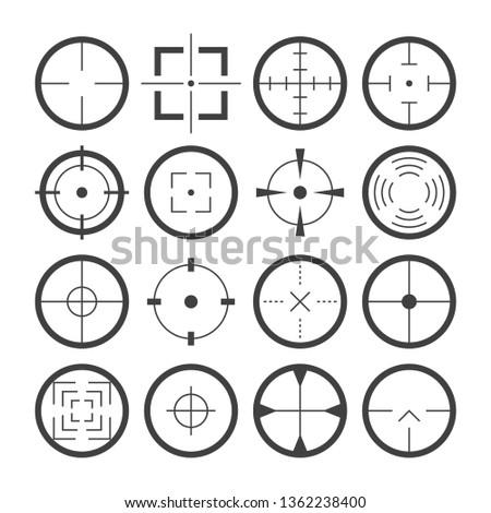 Cross hairs target symbols flat icons detailed vector set #1362238400