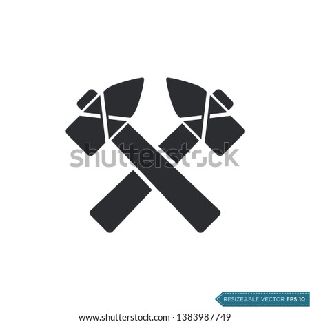 cross hammers icon vector flat