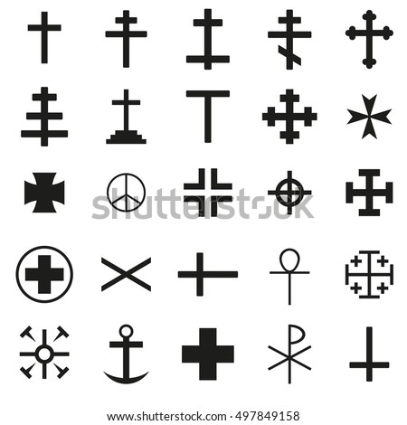 Cross Icon black silhouette set. Ancient cross signs. Vector illustration.