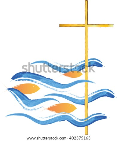Cross in a sea with fish swimming towards it. Symbol of Jesus Christ and Christianity. Christian abstract artistic color vector illustration.
