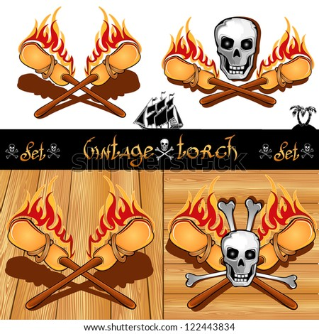cross of torch with skull isolated and wooden background
