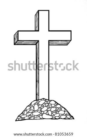 cross on hillside  black and