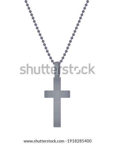 cross on metal chain vector