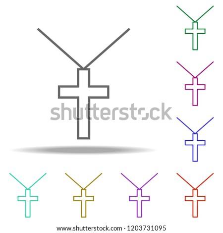 cross pendant outline icon