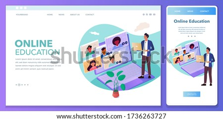Cross-platform develop landing page online education, video conferences, work from home, online meeting. Browser and mobile phone template with place for your text.