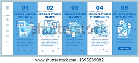 Cross platform development onboarding mobile web pages vector template. Responsive smartphone website interface idea with linear illustrations. Webpage walkthrough step screens. Color concept