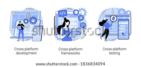 Cross-platform operating system abstract concept vector illustration set. Cross-platform development, software app framework, multi platform testing, code writing, user experience abstract metaphor.