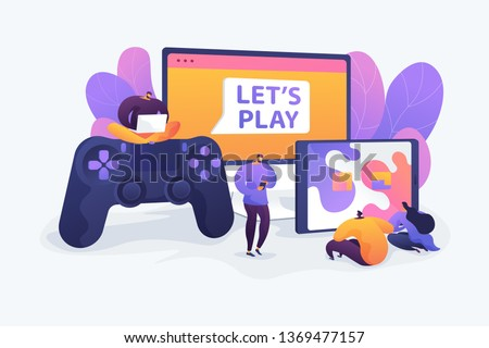 Cross-platform play, cross-play, cross-platform gaming on different video game hardware concept. Vector isolated concept illustration with tiny people and floral elements. Hero image for website.