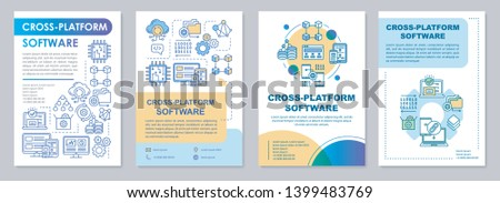 Cross platform software brochure template layout. Programming flyer, booklet, leaflet print design with linear illustrations. Vector page layouts for magazines, annual reports, advertising posters