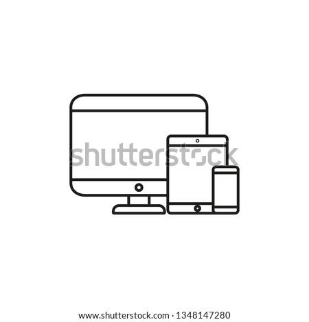 Cross-platform software icon. Modern vector illustration. 3 types of devices. Three types of gadgets. Cross platform symbol.