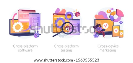 Cross-platform software metaphors. Multi-platform testing, platform-independent software, cross device marketing. Cartoon programmer character. Vector isolated concept metaphor illustrations