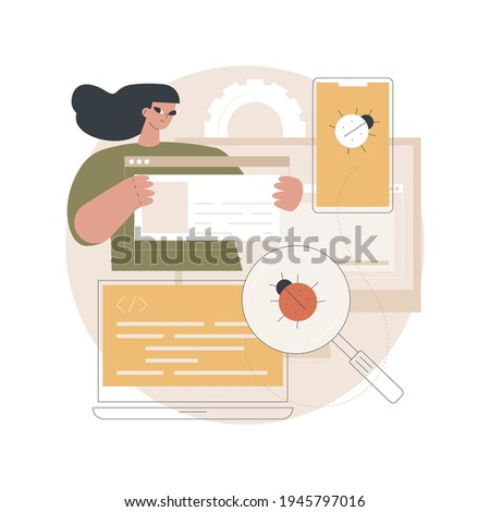 Cross-platform testing abstract concept vector illustration. Cross-platform bug finding, problem identification, multi platform software testing, framework, development process abstract metaphor.