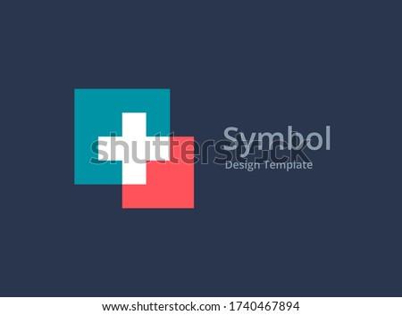 Cross plus medical logo icon design template elements Photo stock ©