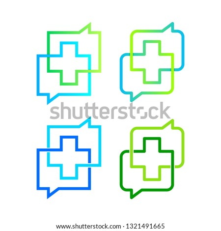 Cross Plus or Positive Logos with Negative space and linear in Two Chat or Talk Group sign, Speech bubble shape Symbols,  Medical Healthcare Hospital Pharmacy Clinic icon, Communication and Connection ストックフォト ©