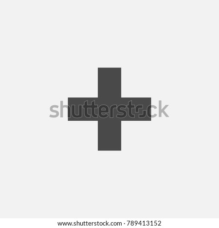 cross plus sign for canceled not approved or mathematical addition vector icon gray eps10 for education business and websites