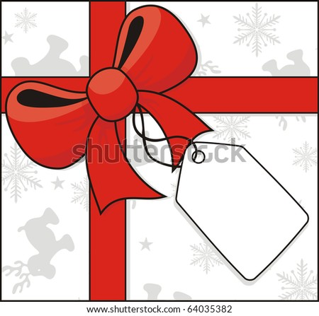 cross ribbon and bow with hang tag on christmas related background in vector format, individual objects very easy to edit