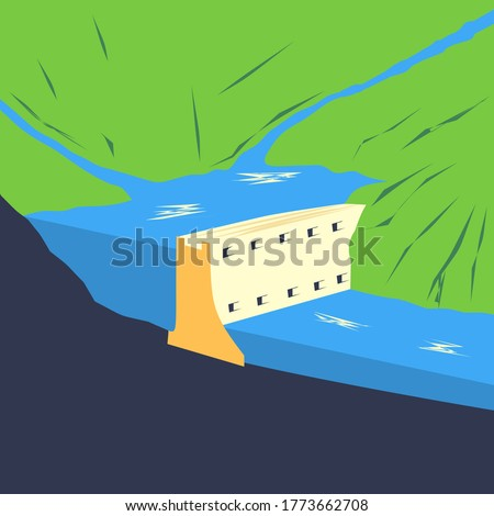 Cross section of a conventional hydroelectric dam