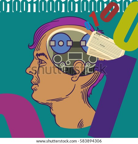 Cross section of a mans brain with old computer tape reels in place of his brain, old fashioned computer program cards changing into 1's  and 0's.