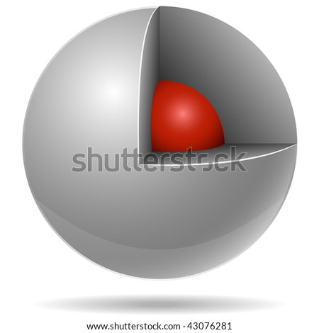 Cross section of white sphere with red one inside isolated on white background. Core concept.