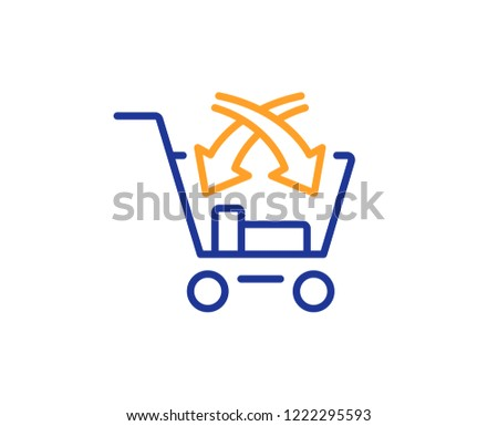 Cross sell line icon. Market retail sign. Colorful outline concept. Blue and orange thin line color icon. Cross sell Vector