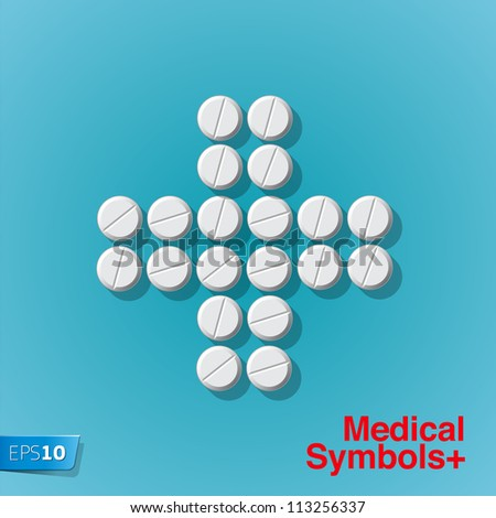 Cross shape with medical pills on blue background, vector Eps 10 illustration.